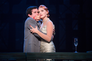 Michael Williams (David Shayne) and Emma Stratton (Helen Sinclair) in the North American tour of the hit musical comedy BULLETS OVER BROADWAY, written by Woody Allen featuring original direction and choreography by Susan Stroman. (Photo by Matthew Murphy)
