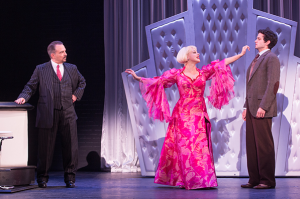 Michael Corvino (Nick Valenti), Jemma Jane (Olive Neal) and Michael Williams (David Shayne) in the North American tour of the hit musical comedy BULLETS OVER BROADWAY, written by Woody Allen.